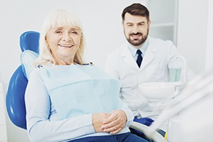 Mature woman in dentist's chair