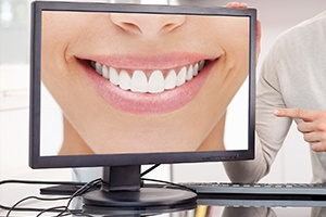 Smile on computer monitor